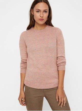 Růžový žíhaný  svetr s metalickým vláknem VERO MODA Duarte