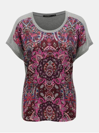 Růžovo-šedé tričko s ozdobnými kamínky Desigual Sevilla