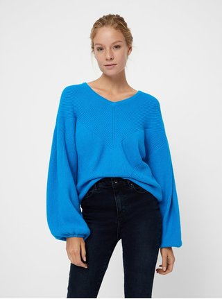 Pulover albastru impletit cu maneci bufante VERO MODA Diva