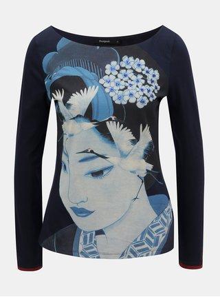 Tmavě modré tričko s motivem a výšivkou Desigual Akane ccc8b7d8ea7