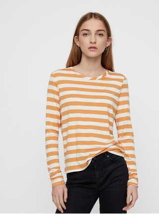 Krémovo–oranžové pruhované basic tričko s dlhým rukávom VERO MODA Sonia