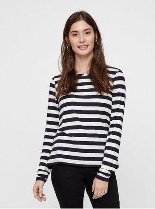 Krémovo–modré pruhované basic tričko s dlhým rukávom VERO MODA Sonia