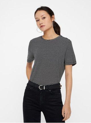 Bielo–čierne pruhované basic tričko s krátkym rukávom VERO MODA AWARE Mava