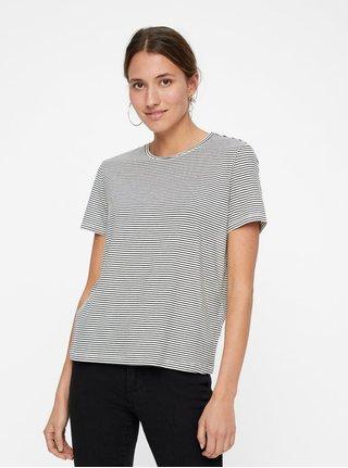 Černo-bílé pruhované basic tričko s krátkým rukávem VERO MODA AWARE Mava