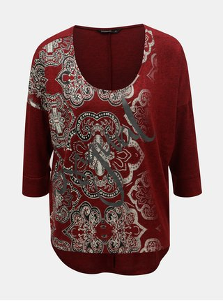 Top bordo cu maneci 3/4 Desigual Nisa