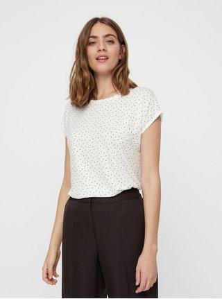Bílé puntíkované volné tričko s krátkým rukávem VERO MODA AWARE Plain