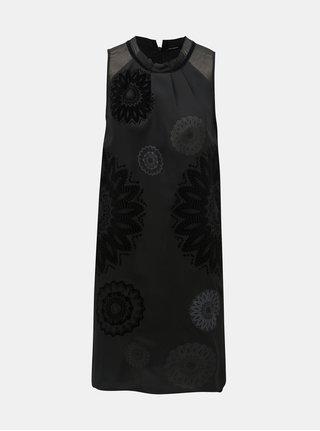 Černé vzorované šaty s průsvitnými detaily Desigual Zagreb