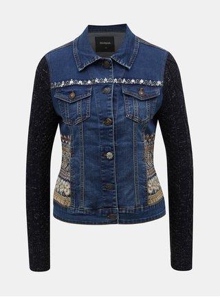 Jacheta albastru inchis din denim cu maneci din tricot Desigual Bluely