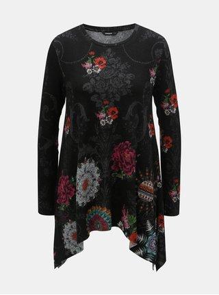 Tunica neagra florala cu tiv asimetric Desigual Cronosk