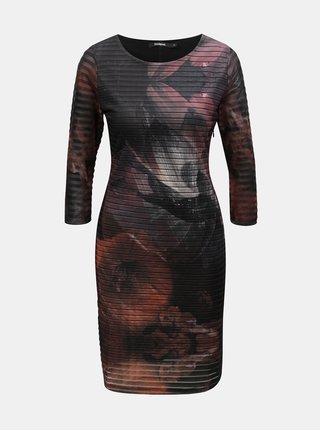 Růžovo-černé pouzdrové květované šaty Desigual Rosa Glam