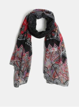 Růžovo-šedý vzorovaný šátek Desigual New Freya