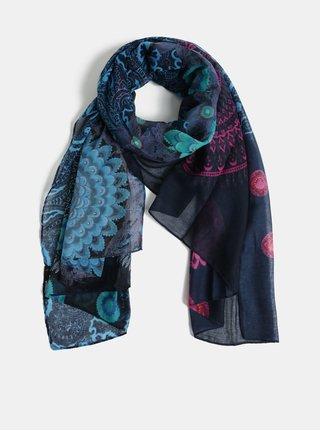 Tmavě modrý šátek s motivem mandal Desigual Pliss