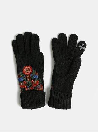 Manusi negre florale cu degete Desigual Odissey