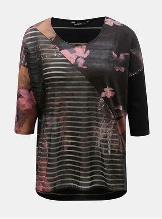 Tmavosivé kvetované tričko s priesvitnými detailmi Desigual Belgica