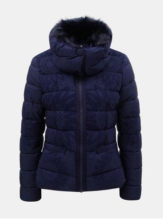 Tmavě modrá vzorovaná zimní bunda s odnímatelným límcem Desigual Komoderi