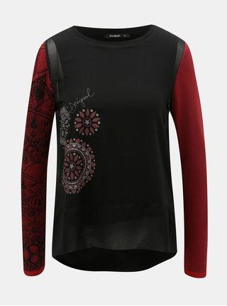 Červeno-černé tričko s dlouhým rukávem Desigual Glen
