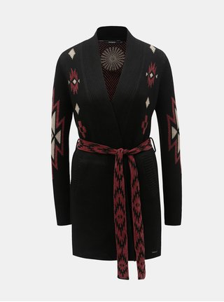 Cardigan bordo-negru cu model Desigual Mali