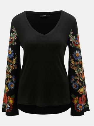Tricou negru cu maneci florale tricotate Desigual Claudina