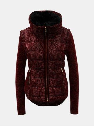 Vínová vzorovaná bunda/vesta s odnímatelným kožíškem Desigual Alexandra