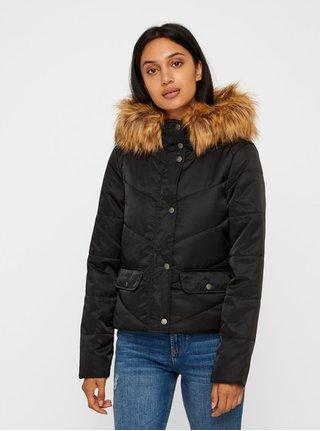 Černá zimní prošívaná bunda s umělým kožíškem Noisy May