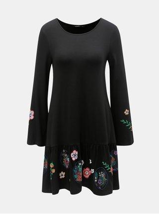 Rochie neagra florala cu volane Desigual Surat