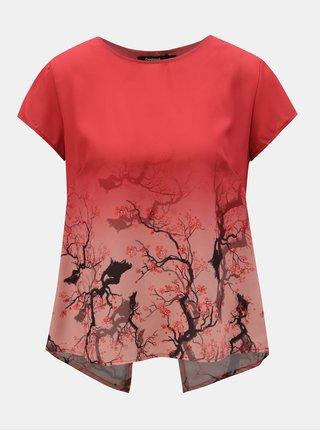 Bluza rosie cu model si partea din fata transparenta Desigual Sakura