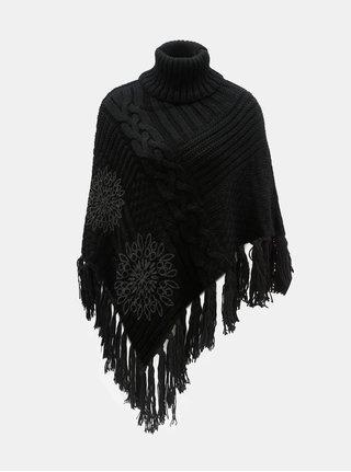 Poncho negru cu imprimeu si franjuri Desigual Soft