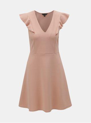 Světle růžové šaty s volánem na rukávu Dorothy Perkins
