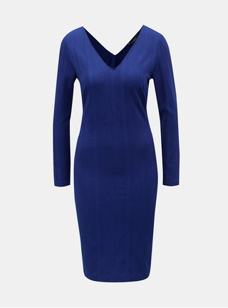 Modré pouzdrové šaty s véčkovým výstřihem Dorothy Perkins