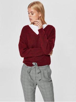 Vínový sveter s prímesou vlny a mohéru Selected Femme Flivana