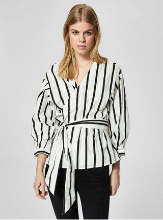 Bluza alb & negru cu croi suprapus - Selected Femme Nadine