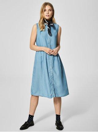 Světle modré košilové šaty bez rukávů Selected Femme Chloe a660140ef4