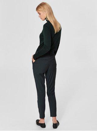 Černé pruhované chino kalhoty s příměsí vlny Selected Femme Famila 431915bf5e