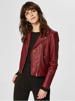 Vínová kožená bunda s detailmi v striebornej farbe Selected Femme Marlen