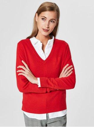Červený kašmírový svetr Selected Femme Faya