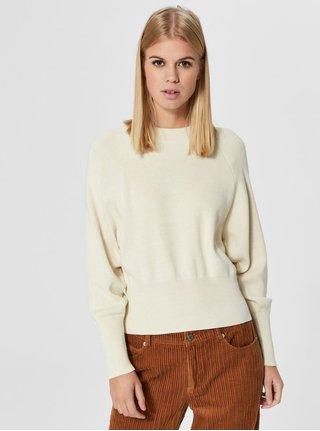 Krémový svetr s netopýřími rukávy Selected Femme Stefania