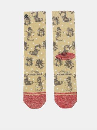 Dámské ponožky v červené a zlaté barvě s vánočním motivem XPOOOS