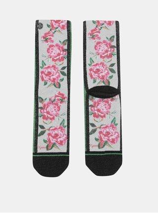 Růžovo-šedé dámské ponožky s motivem růží XPOOOS