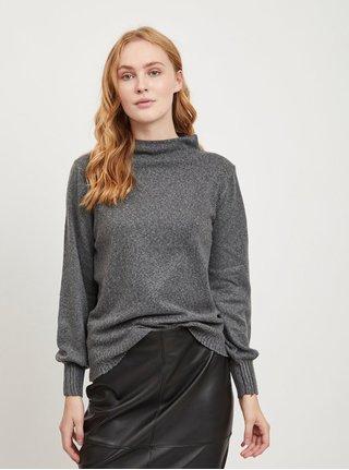 Tmavě šedý svetr se stojáčkem VILA Ripley