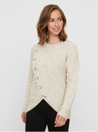 Světle hnědý žíhaný kojicí svetr s příměsí vlny z alpaky Mama.licious