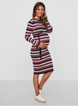 Růžové-šedé těhotenské svetrové šaty s páskem Mama.licious Blossom
