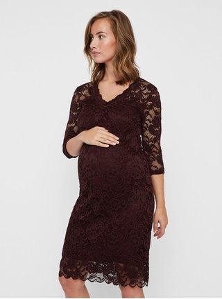 dcb6ecc17856 Vínové tehotenské čipkované šaty Mama.licious