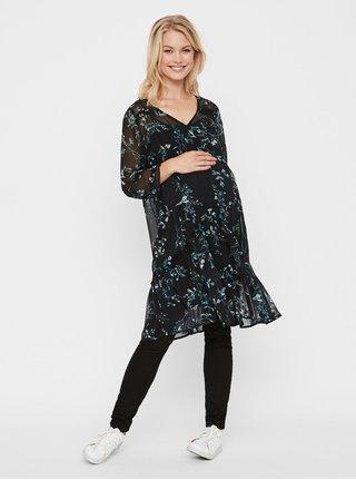 Černé květované těhotenské šaty s volány Mama.licious Sami