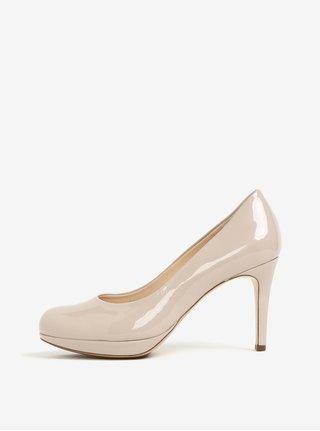Pantofi bej cu toc cui si aspect lacuit - Högl