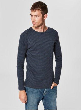 Modro-sivé pruhované tričko s dlhým rukávom Selected Homme Hedwin