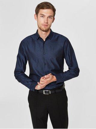 Tmavomodrá pruhovaná slim fit košeľa s dlhým rukávom Selected Homme Slim John
