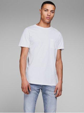 Bílé slim fit tričko s náprsní kapsou Jack & Jones
