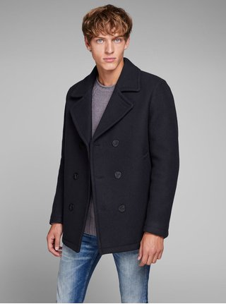 Tmavě modrý kabát s příměsí vlny Jack & Jones Hector