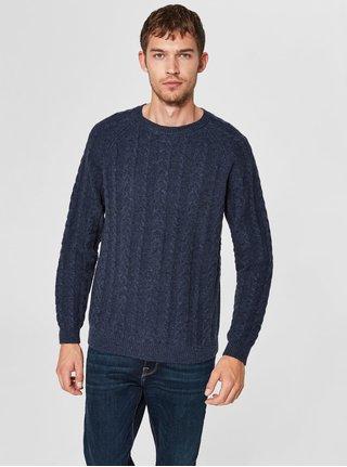 Tmavě modrý vlněný svetr s kulatým výstřihem Selected Homme Bravo