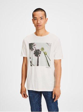 Krémové tričko s potlačou a krátkym rukávom Jack & Jones Collage